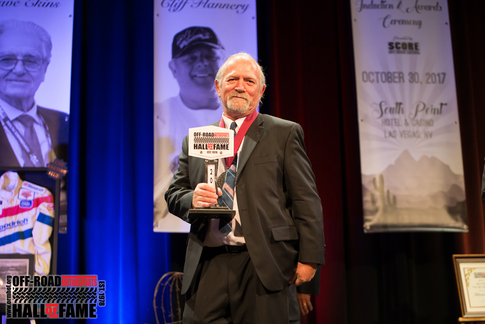 Bill Savage with Off Road Motorsports Hall of Fame Award