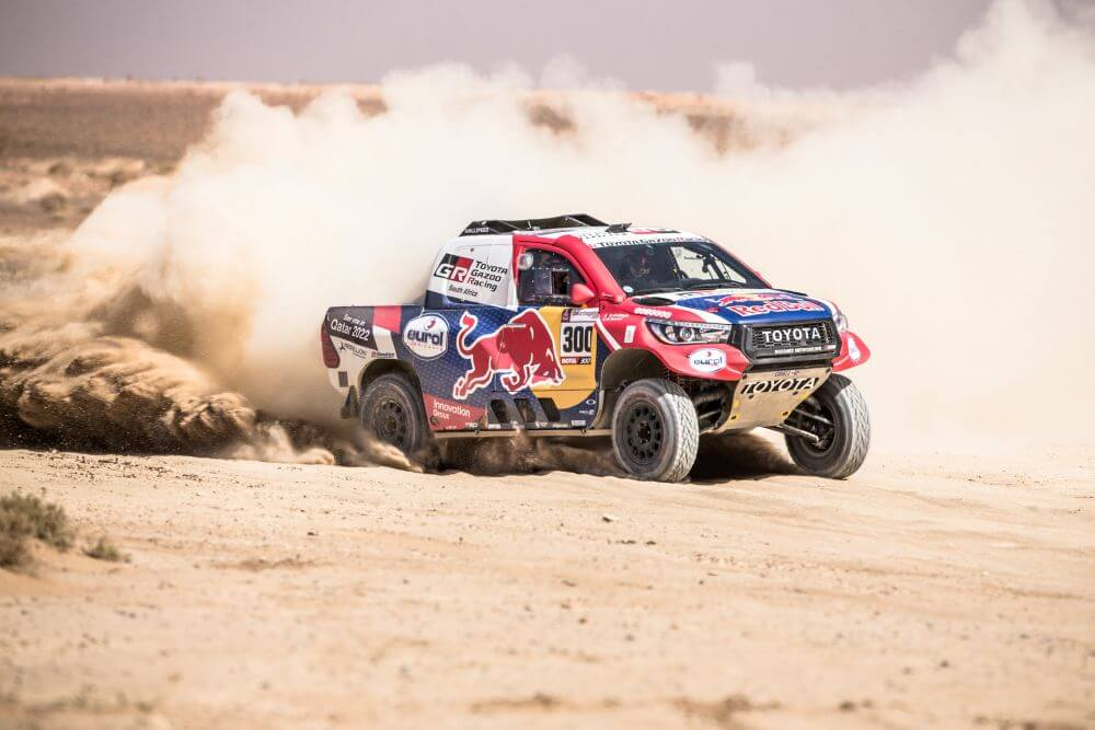 Nasser Al-Attiyah and Matthieu Baumel of Toyota Gazoo Racing SA perform in Erfoud , Morocco on October 1, 2019