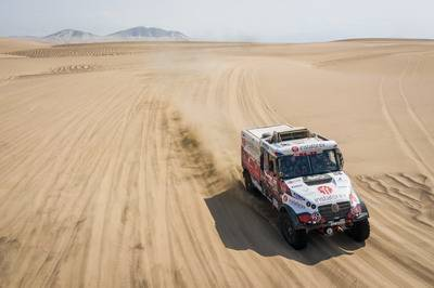 507 LOPRAIS Ales (cze); MARCO ALCAYNA Ferran (spa); POKORA Petr (cze); Tatra; Instaforex Loprais Team; Truck; Camion; action during the Dakar 2019; Stage 9; Pisco - Pisco; peru; on january 16 - Photo Antonin Vincent / DPPI © ASO / A.Vincent / DPPI