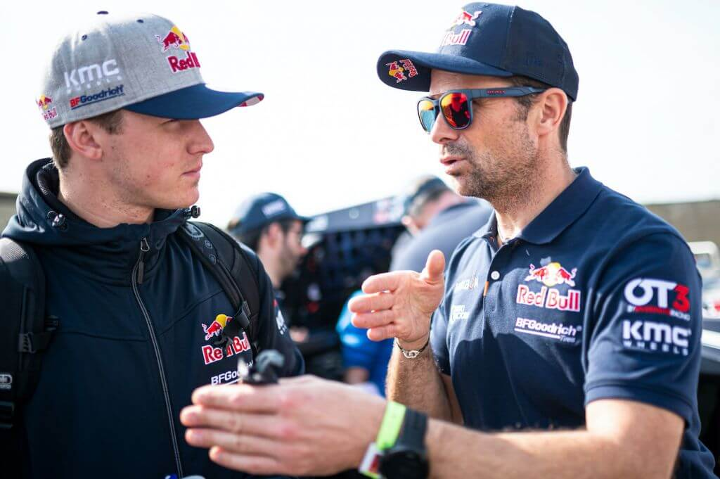 Cyril Despres (FRA) and Blade Hildebrand (USA) of Red Bull Off-Road Team USA are seen during the technical verifications for Rally Dakar 2020 in Jeddah, Saudi Arabia on January 04, 2020 // Marcelo Maragni/Red Bull Content Pool // AP-22PRUCTJW1W11 // Usage for editorial use only //