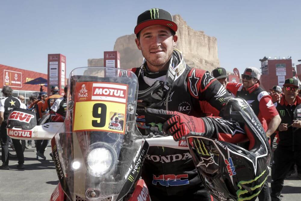 Ricky Brabec after he won the 2020 Dakar Rally on his Honda Dirt Motorcycle