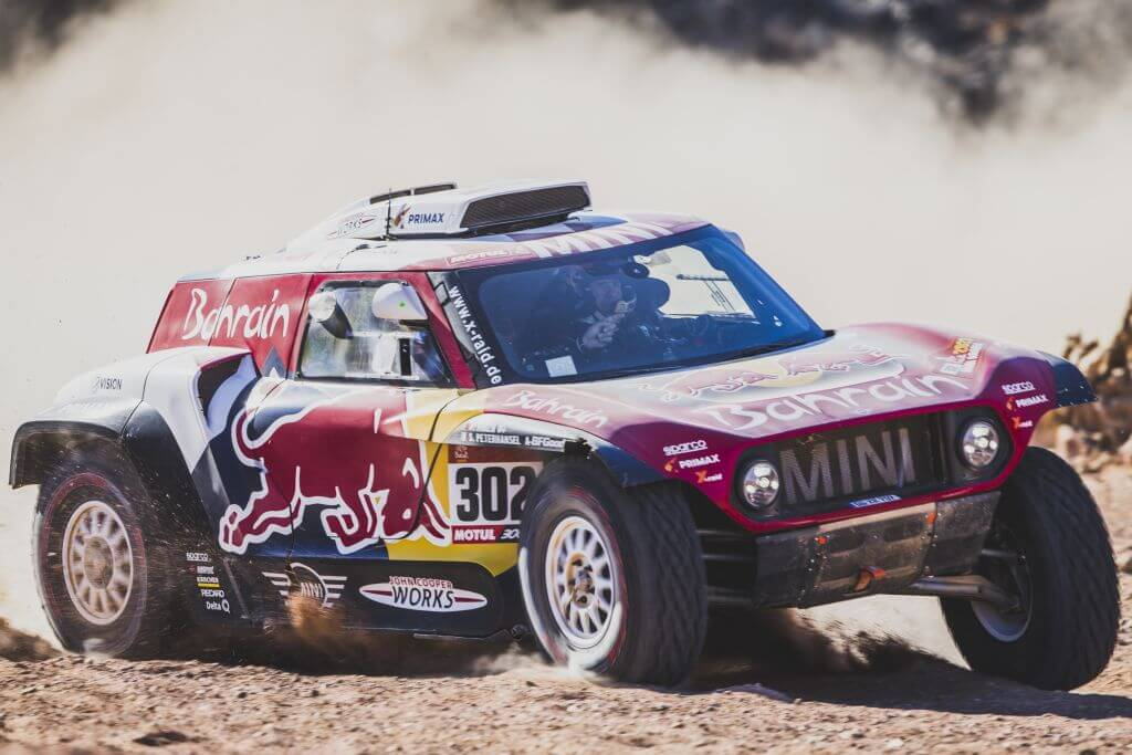 Stephane Peterhansel (FRA) and Paulo Fiuza (PRT) of Bahrain JCW X-Raid Mini Team races during stage 2 of Rally Dakar 2020 from Al Wajh to Neom, Saudi Arabia on January 06, 2020.