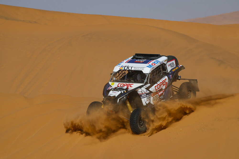 400 Lopez Contardo Francisco (chl), Latrach Vinagre Juan Pablo (chl), Can - Am, South Racing Can-Am, SSV, action during Stage 7 of the Dakar 2020 between Riyadh and Wadi Al-Dawasir, 741 km - SS 546 km, in Saudi Arabia, on January 12, 2020 - Photo Florent Gooden / DPPI