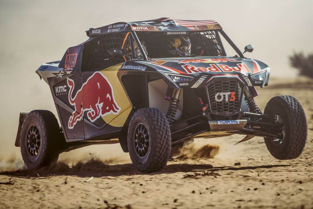 Blade Hildebrand (USA) and François Cazalet (FRA) of SSV Red-Bull Off-Road Team USA races during stage 7 of Rally Dakar 2020 from Riyad to Wadi Al-Dawasir, Saudi Arabia on January 12, 2020.