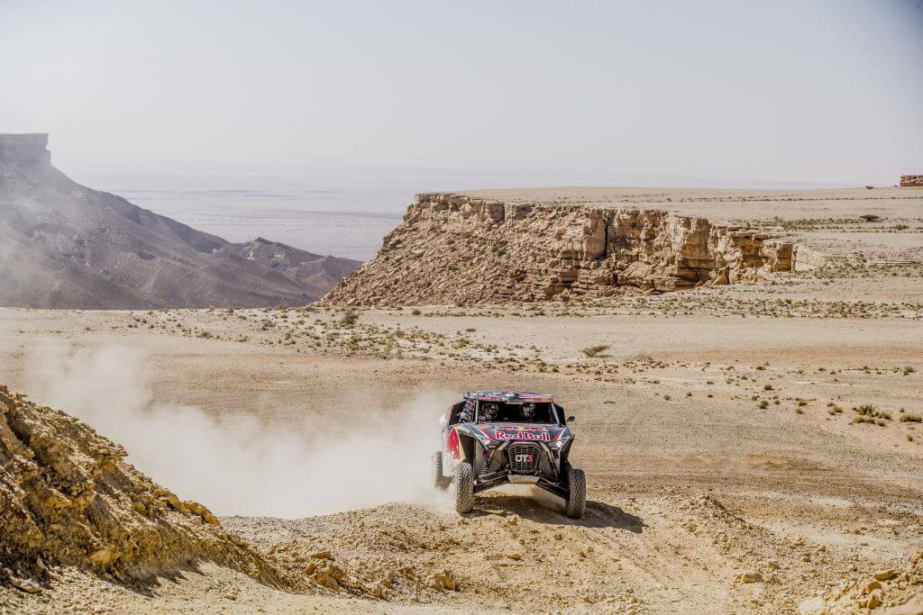 Blade Hildebrand (USA) and François Cazalet (FRA) of SSV Red-Bull Off-Road Team USA races during stage 9 of Rally Dakar 2020 from Wadi Al-Dawasir to Harad, Saudi Arabia on January 14, 2020.