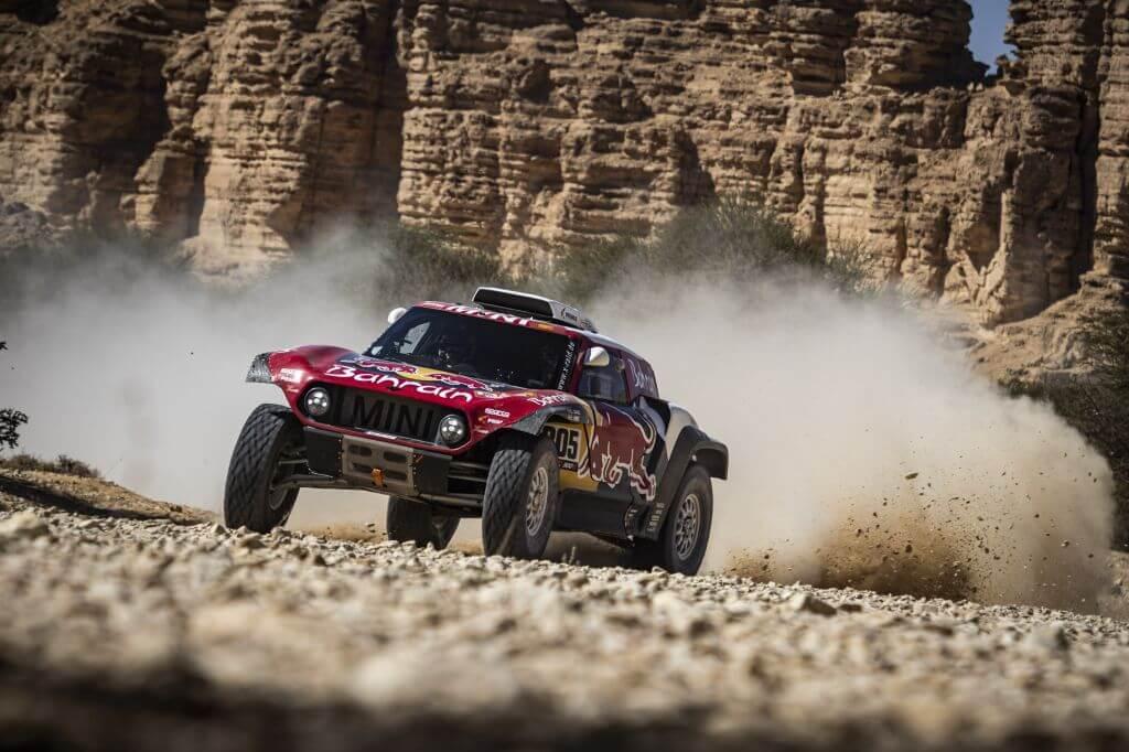 Carlos Sainz (ESP) of Bahrain JCW Team races during stage 09 of Rally Dakar 2020 from Wadi Al Dawasir to Haradh, Saudi Arabia on January 14, 2020