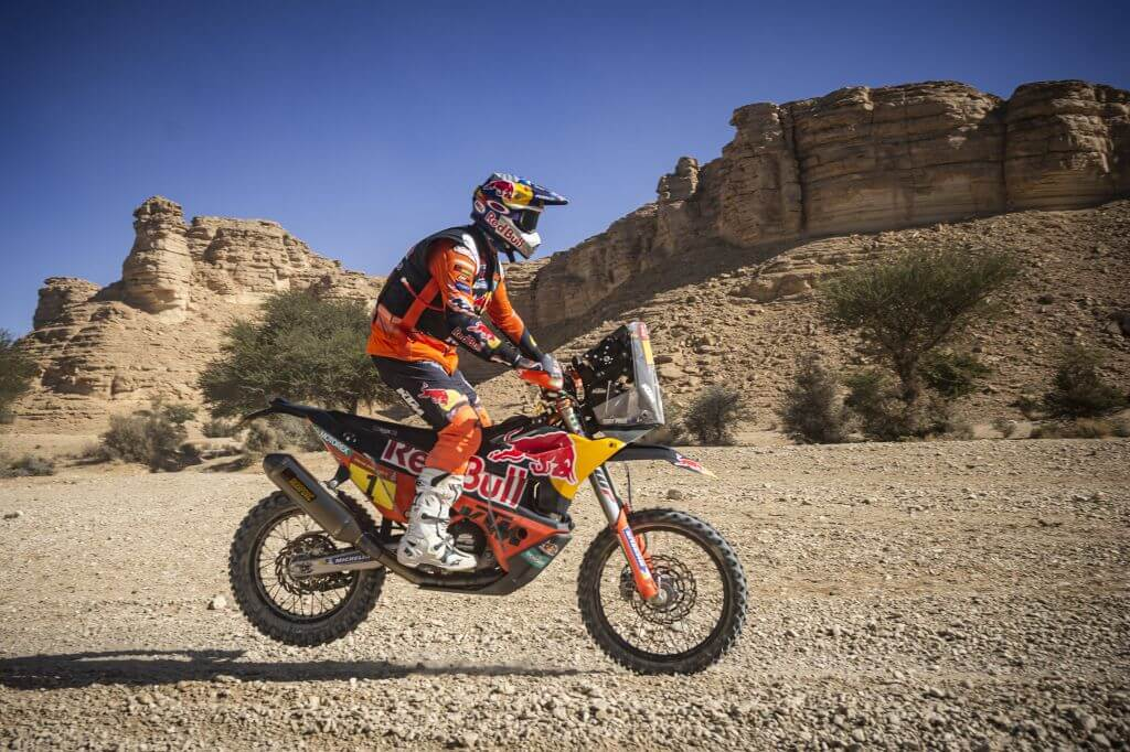 Toby Price (AUS) of Red Bull KTM Factory Team races during stage 09 of Rally Dakar 2020 from Wadi Al Dawasir to Haradh, Saudi Arabia on January 14, 2020