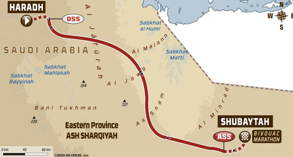 2020 Dakar Rally Stage Stage 10 – Haradh to Shubaytah Route Map
