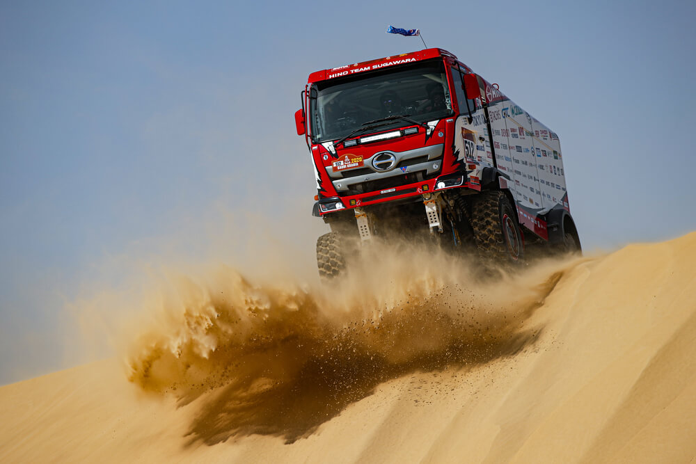 512 Sugawara Teruhito (jpn), Mochizuki Yuji (jpn), Somemiya Hirozaku (jpn), Hino, Hino Team Sugawara, Truck, Camion, action during Stage 10 of the Dakar 2020 between Haradh and Shubaytah, 608 km - SS 534 km, in Saudi Arabia, on January 15, 2020 - Photo Florent Gooden / DPPI