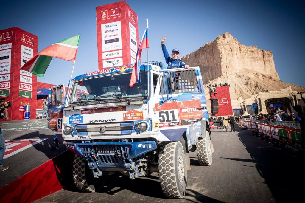 Andrey Karginov (RUS) of Team KAMAZ-Master is seen at the finish line of Rally Dakar 2020 from in Qiddiya, Saudi Arabia on January 17, 2020 // Marcelo Maragni/Red Bull Content Pool // AP-22TYBRYZN2511 // Usage for editorial use only //