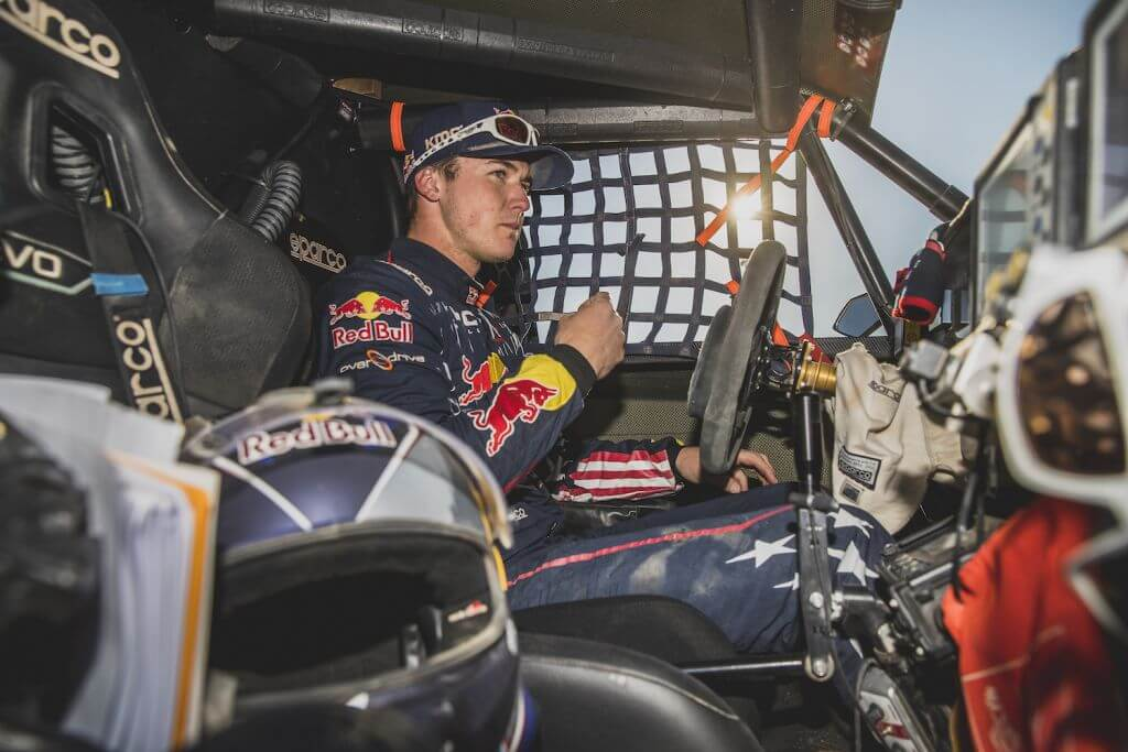Blade Hildebrand (USA) and François Cazalet (FRA) of SSV Red-Bull Off-Road Team USA at the end of stage 11 of Rally Dakar 2020 from Shubaytah to Harad, Saudi Arabia on January 16, 2020.
