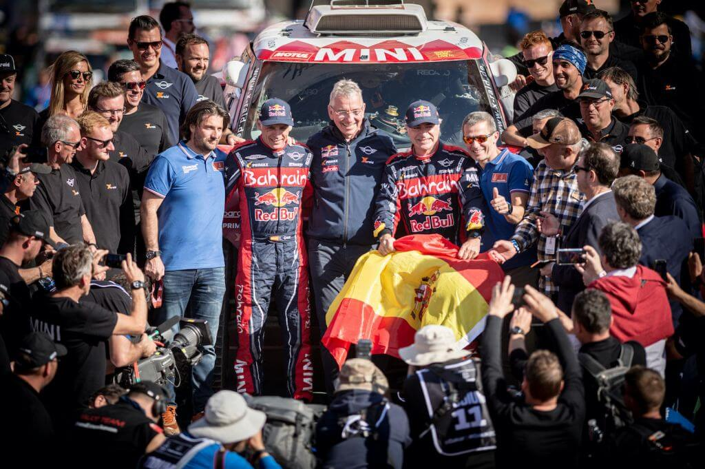 Carlos Sainz (ESP) of Bahrain JCW Team is seen at the finish line of Rally Dakar 2020 from in Qiddiya, Saudi Arabia on January 17, 2020 // Marcelo Maragni/Red Bull Content Pool // AP-22TYC961H2511 // Usage for editorial use only //