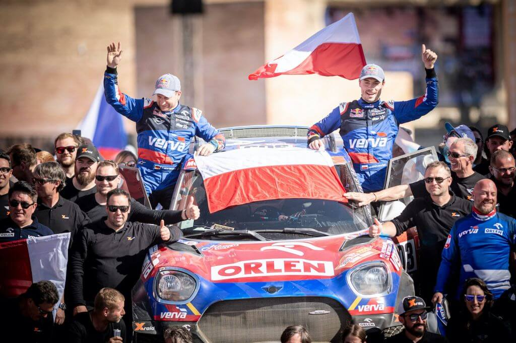 Jakub Przygonski (POL) of Orlen Team X-Raid is seen at the finish line of Rally Dakar 2020 from in Qiddiya, Saudi Arabia on January 17, 2020 // Marcelo Maragni/Red Bull Content Pool // AP-22TYC8NDD2511 // Usage for editorial use only //
