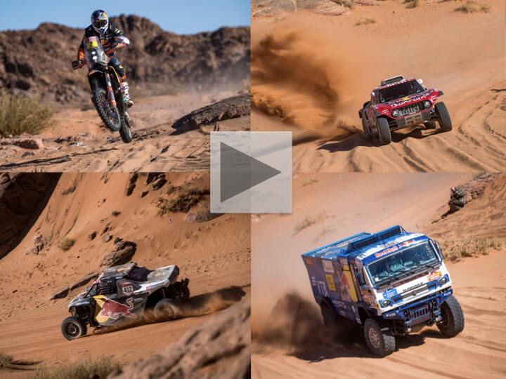 (clockwise) Matthias Walkner, Carlos Sainz, Mitch Guthrie Jr. & Dmitry Sotnikov race Stage 3 at the 2020 Dakar Rally © Marcelo Maragni/Red Bull Content Pool