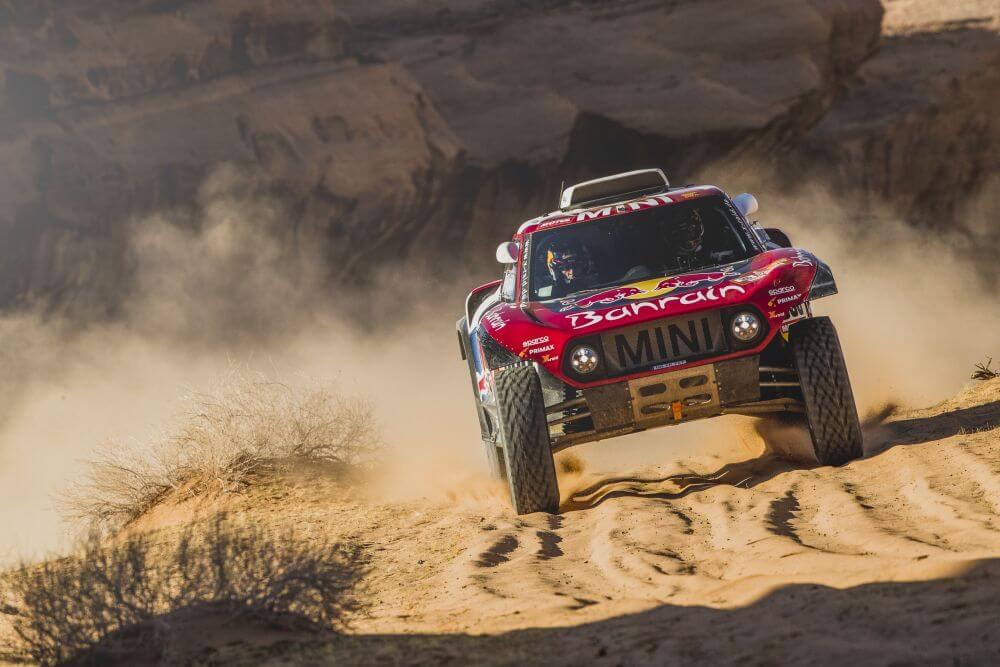 Carlos Sainz and Lucas Cruz (ESP) of Bahrain JCW X-Raid Mini Team races during stage 5 of Rally Dakar 2020 from Al-Ula to Hail, Saudi Arabia on January 09, 2020.