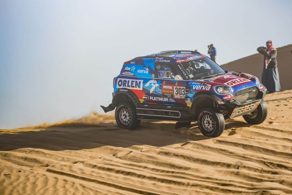 Jakub Przygonski (POL) and Timo Gottschalk (DEU) of Orlen X-Raid Mini Team races during stage 8 of Rally Dakar 2020 at Wadi Al-Dawasir, Saudi Arabia on January 13, 2020.