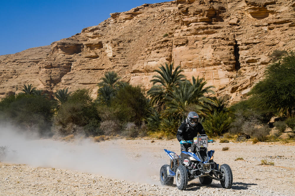 254 Sanabria Galeano Neslon Augusto (pry), Yamaha, M.E.D Racing Team, Quad, action during Stage 9 of the Dakar 2020 between Wadi Al-Dawasir and Haradh, 891 km - SS 415 km, in Saudi Arabia, on January 14, 2020 - Photo Eric Vargiolu / DPPI