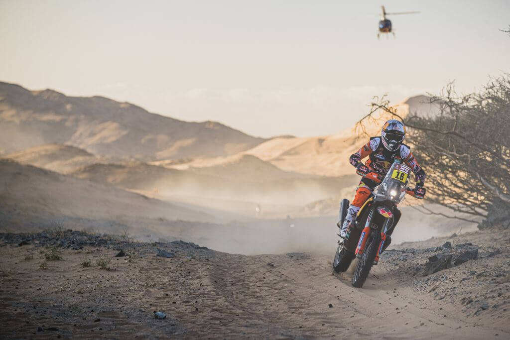 Luciano Benavides (ARG) of Red Bull KTM Factory Team races during stage 1 of Rally Dakar 2020 from Djeddah to Al Wajh, Saudi Arabia on January 05, 2020.