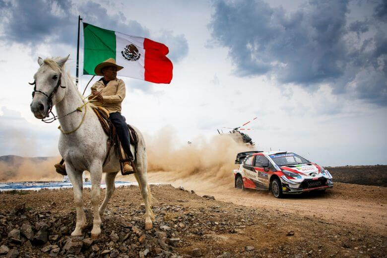 Sebastien Ogier FRA and Julien Ingrassia FRA of team Toyota Gazoo Racing WRT are seen racing in day during the World Rally Championship Mexico in Leon Mexico on March