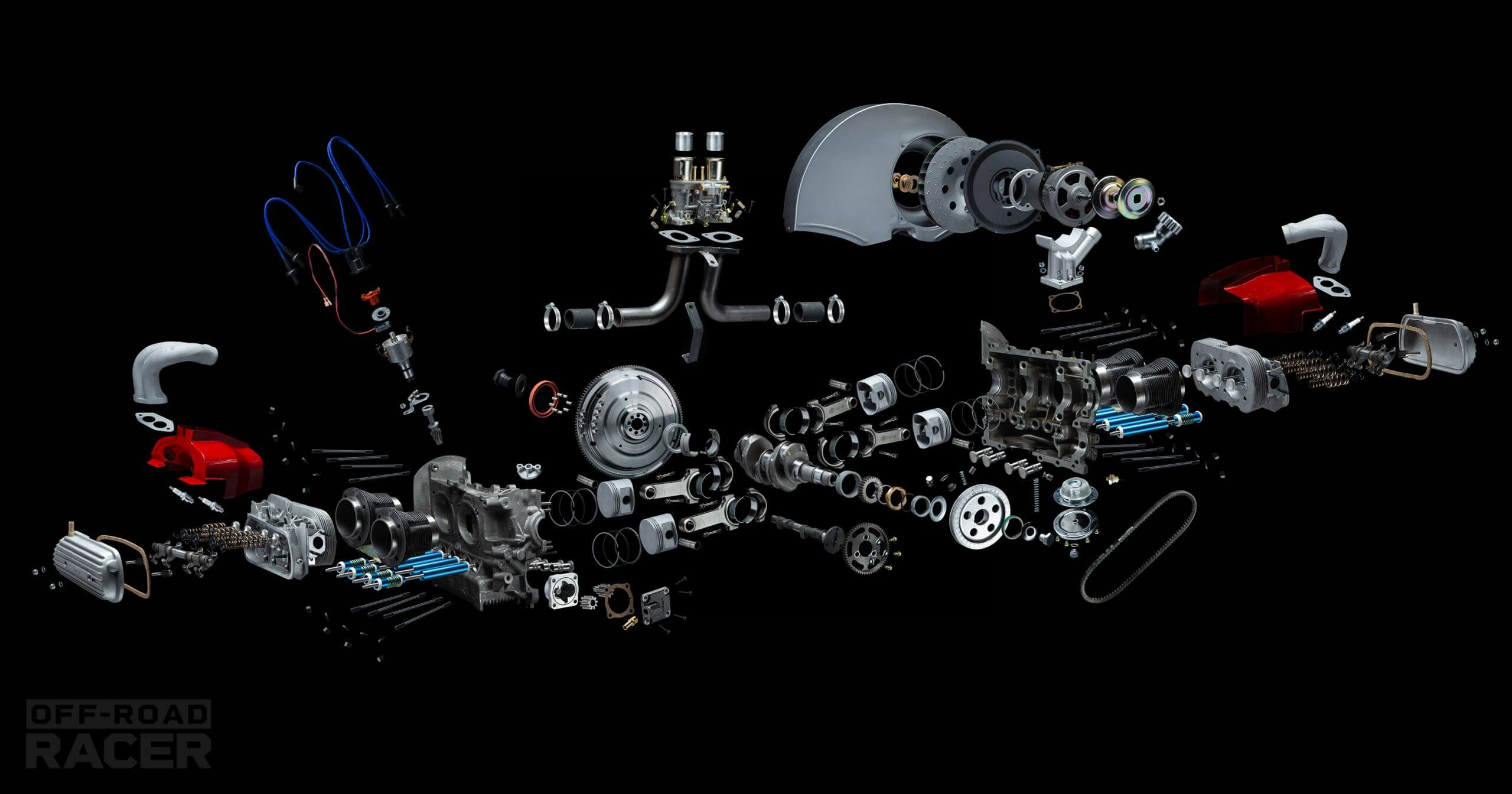 volkswagen engine exploded view photography