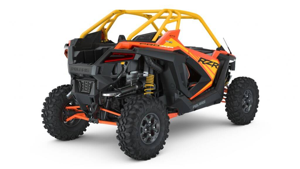 Polaris RZR PRO XP Orange Madness Seater from the back