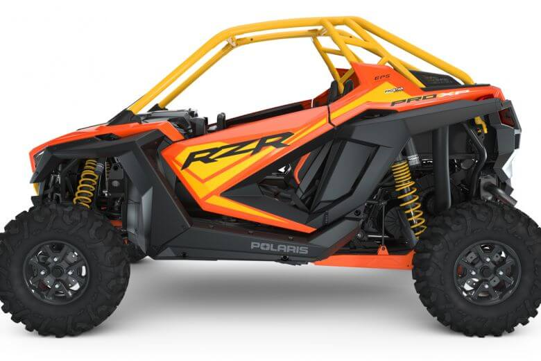 Polaris RZR PRO XP Orange Madness Seater from the driver left side