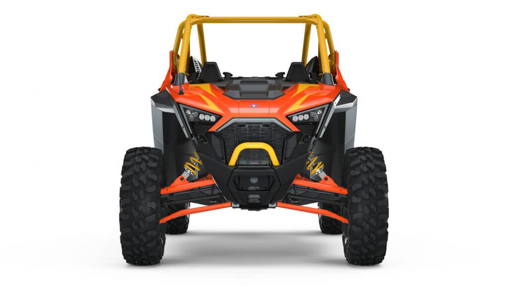 Polaris RZR PRO XP Orange Madness Seater from the front
