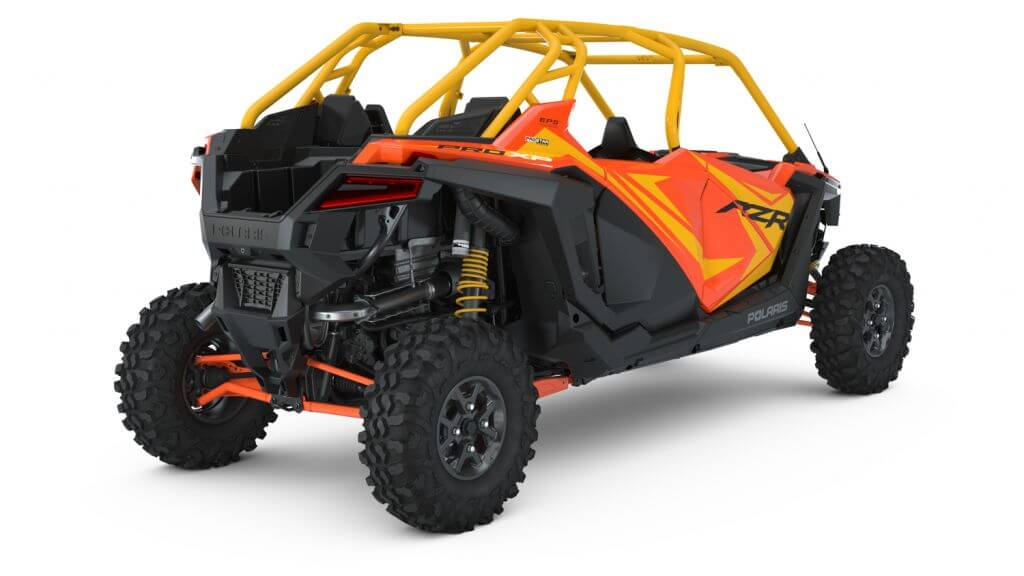 Polaris RZR PRO XP Orange Madness Seater from the back angle