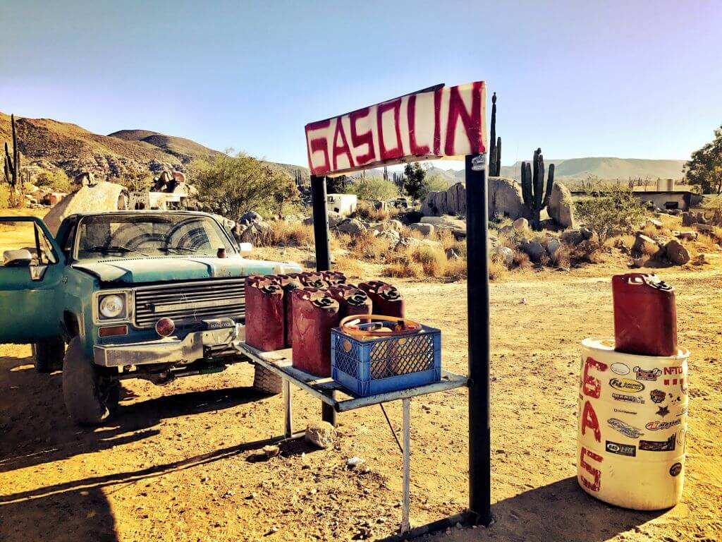 baja off road racer getting gas
